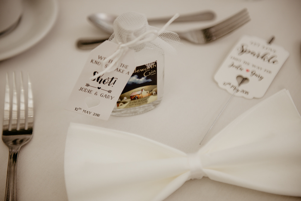Gin Favours Bottles Drink Bow Tie Napkin Crow Hill Wedding Tim Simpson Photography