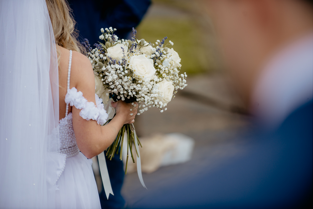 Bouquet Bride Bridal White Rose Gypsophila Lavender Ribbon Flowers Crow Hill Wedding Tim Simpson Photography