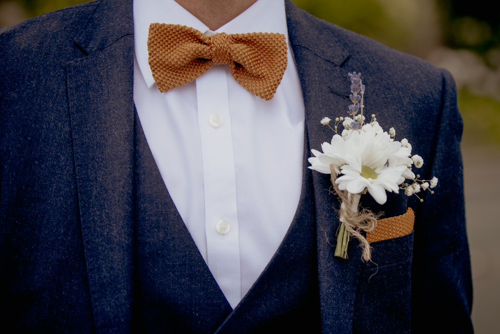 Groom Suit Mustard Bow Tie Daisy Buttonhole Crow Hill Wedding Tim Simpson Photography