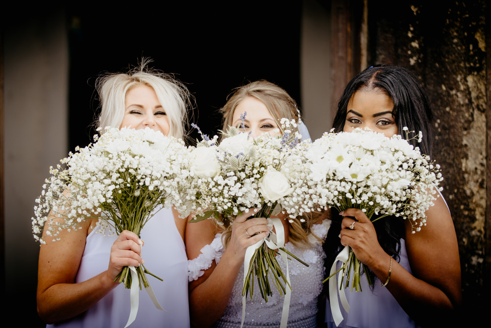 Bouquet Bride Bridal White Rose Gypsophila Lavender Ribbon Flowers Daisy Thistle Bridesmaids Crow Hill Wedding Tim Simpson Photography