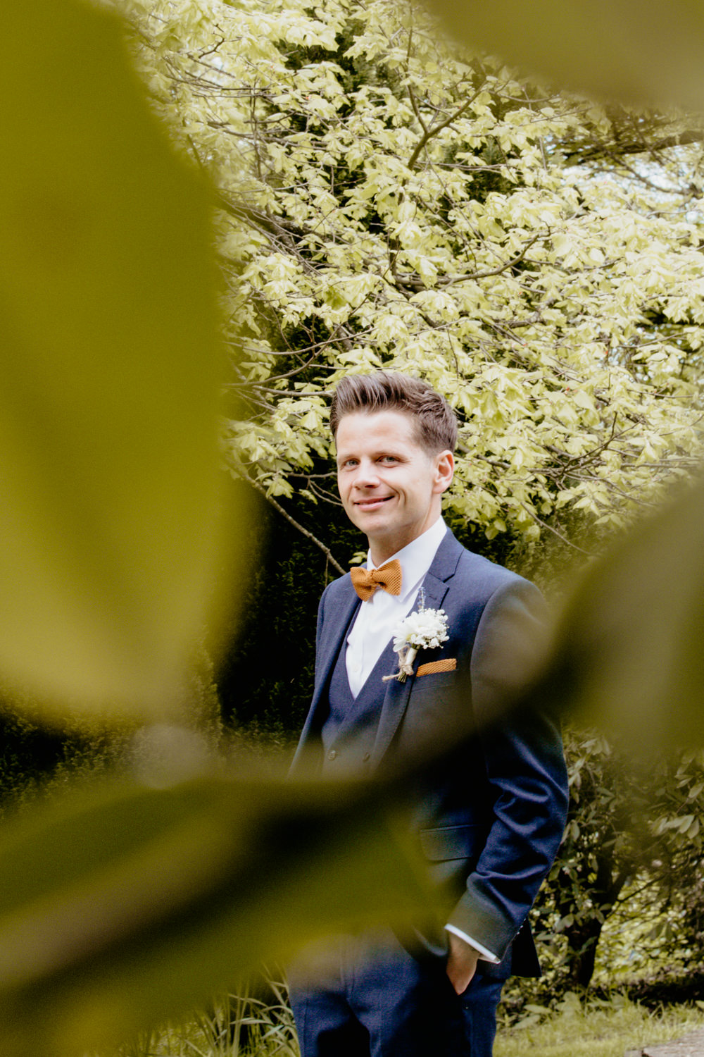 Groom Suit Mustard Bow Tie Blue Crow Hill Wedding Tim Simpson Photography