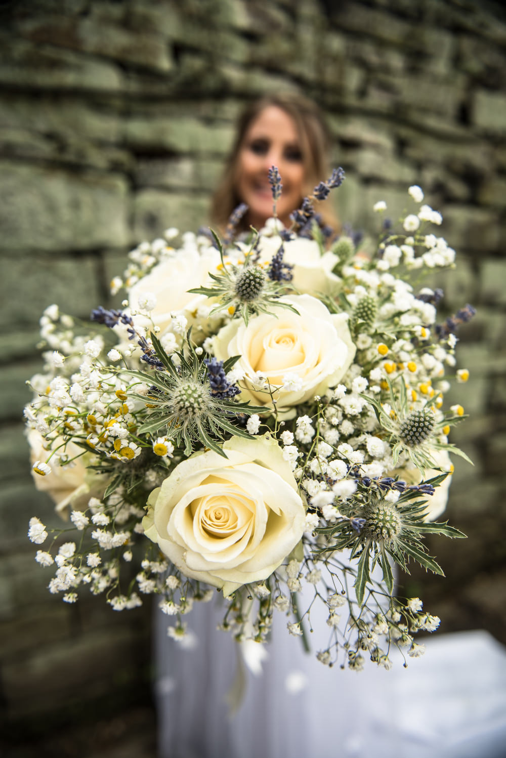 Bouquet Bride Bridal White Rose Gypsophila Lavender Ribbon Flowers Daisy Thistle Crow Hill Wedding Tim Simpson Photography