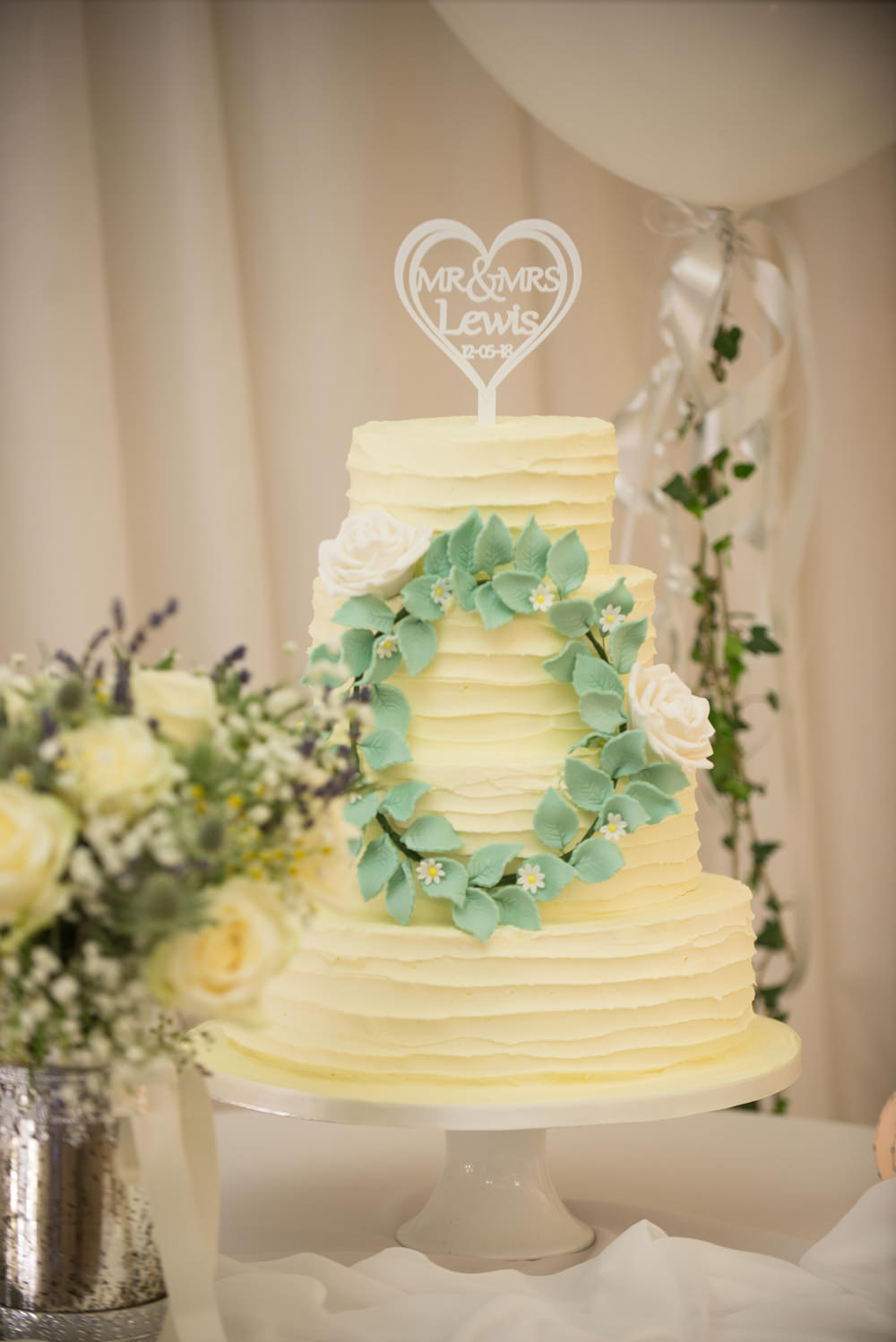 Rustic Buttercream Cake Greenery Wreath Halo Crow Hill Wedding Tim Simpson Photography