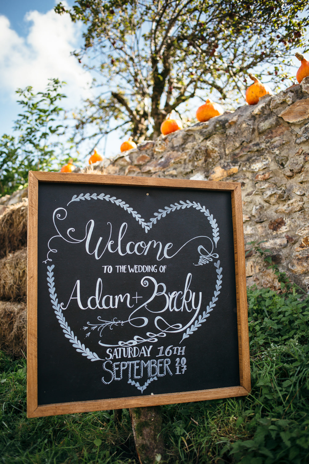 Welcome Sign Chalk Black Coart Heart Calligraphy Devon Garden Wedding Tipi Freckle Photography