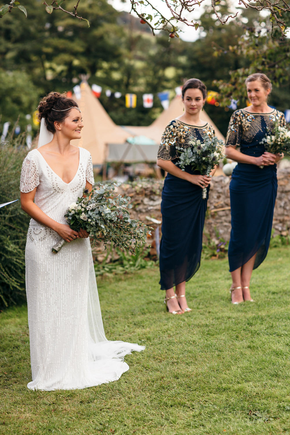 Eliza Jane Howell Beaded Sequin Dress Gown Sleeves Bride Bridal Devon Garden Wedding Tipi Freckle Photography
