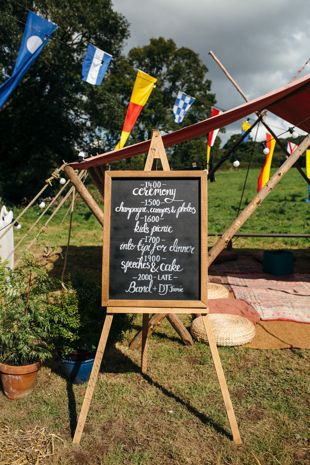 Chalk Black Board Order Day Devon Garden Wedding Tipi Freckle Photography