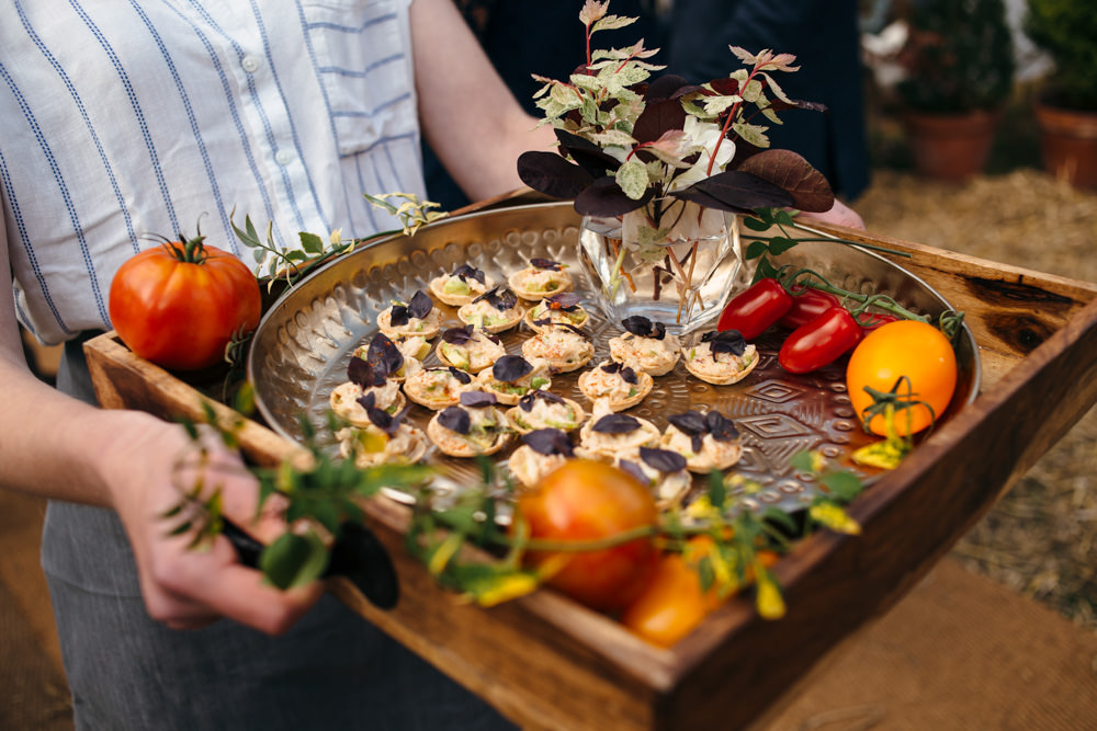 Canapes Devon Garden Wedding Tipi Freckle Photography