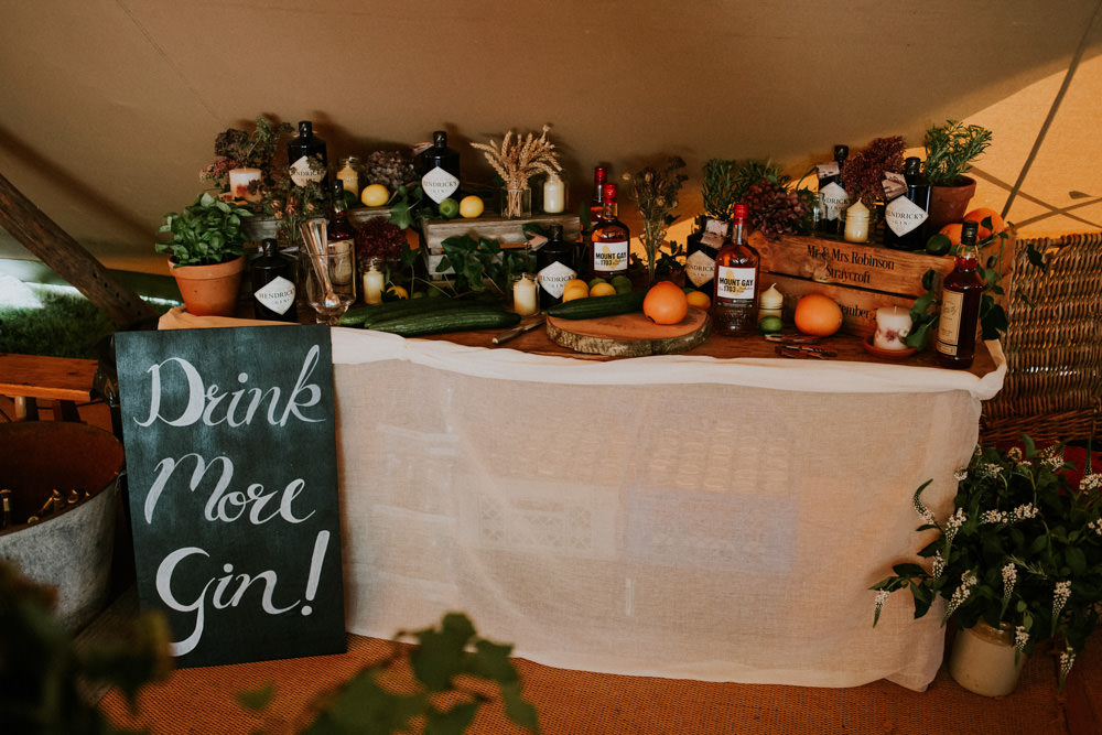 Gin Bar Drinks Station Devon Garden Wedding Tipi Freckle Photography