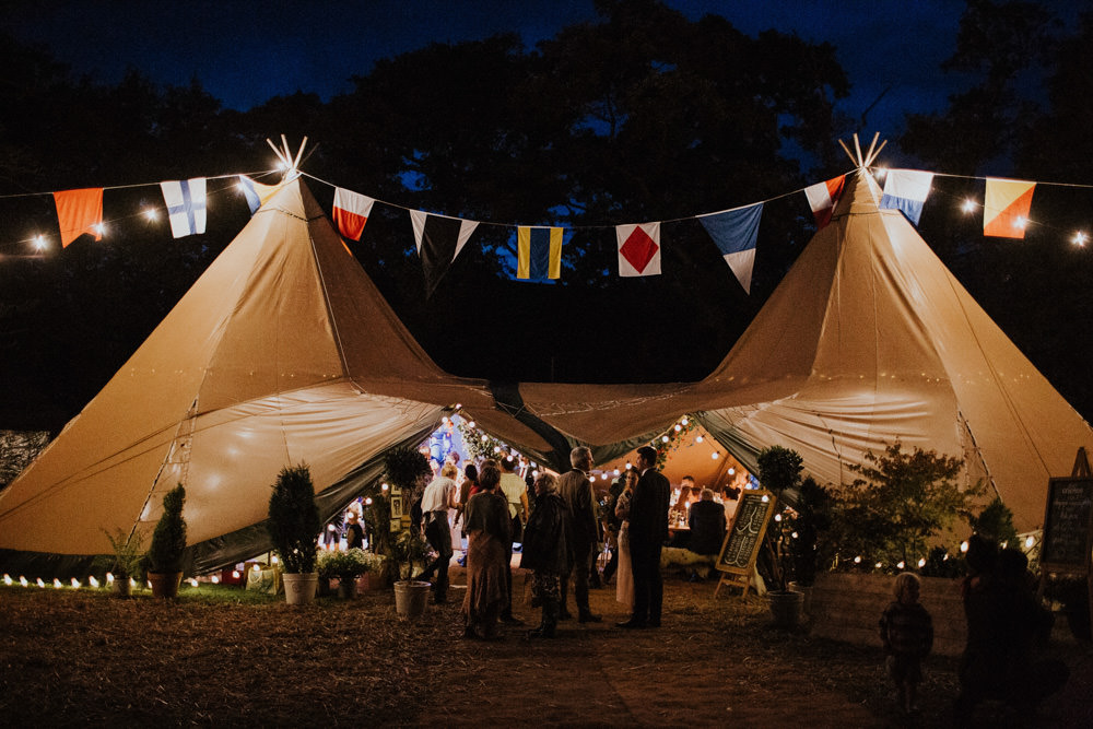 Lights Flag Bunting Devon Garden Wedding Tipi Freckle Photography