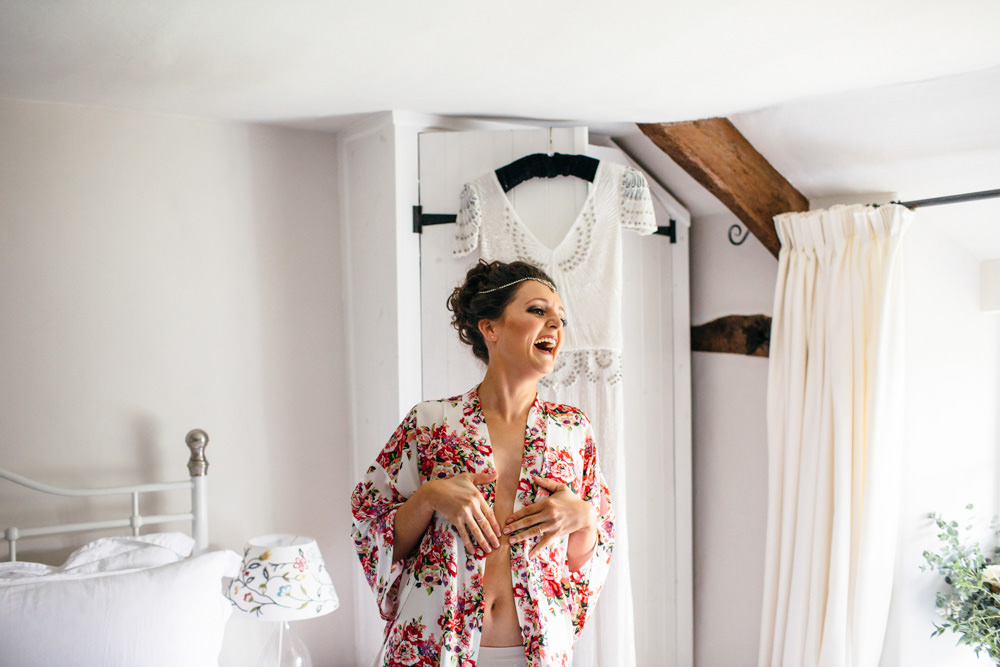 Floral Dressing Gown Robe Bride Bridal Devon Garden Wedding Tipi Freckle Photography