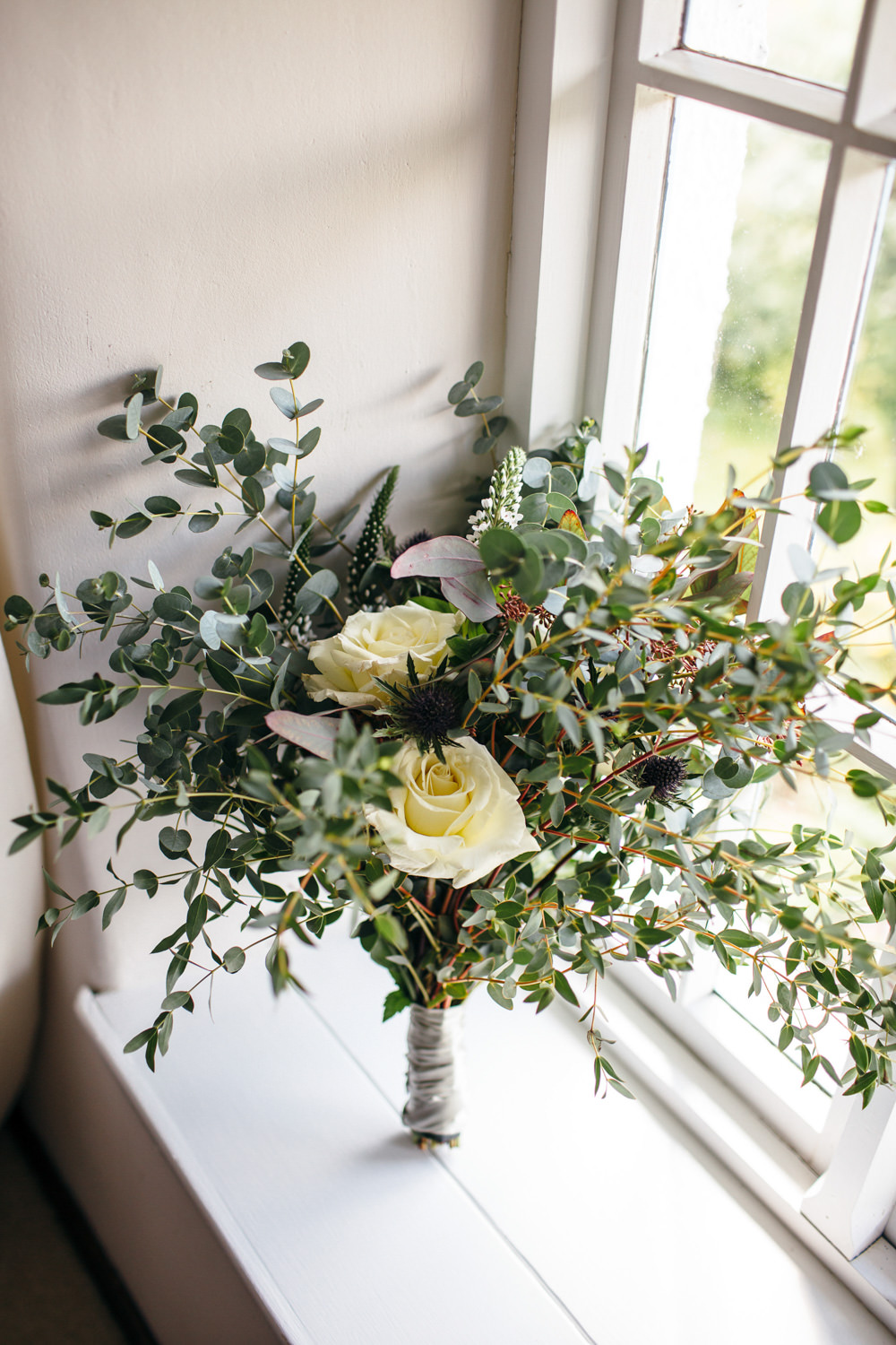 Greenery Foliage Bouquet Flowers Bride Bridal Rose Eucalyptus Devon Garden Wedding Tipi Freckle Photography
