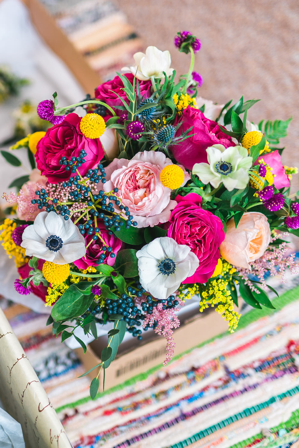 Multicoloured Bride Bridal Bouquet Anemone David Austin Rose Thistle Fruit Space Hull Warehouse Wedding M&G Photographic