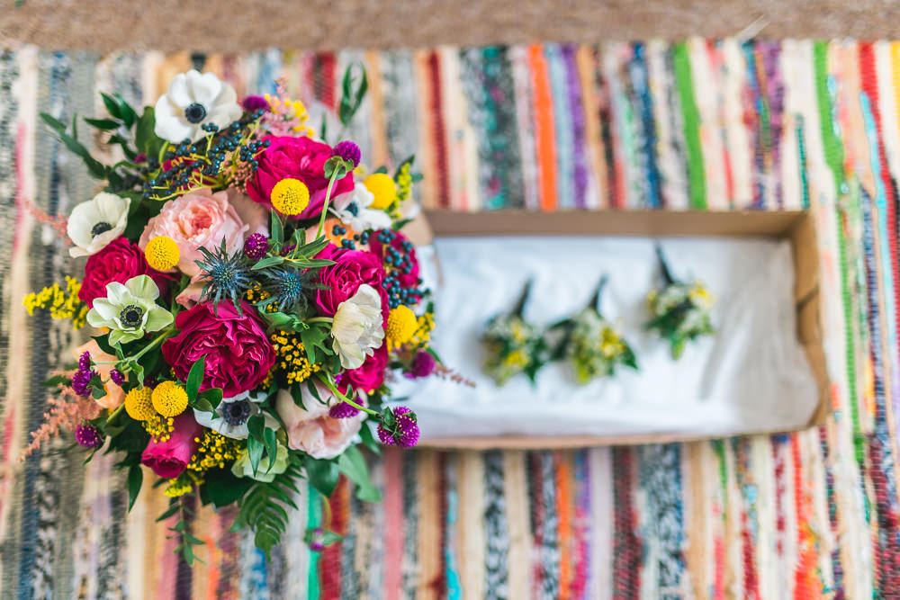 Multicolour Bride Bridal Bouquet Anemone Thistle Rose Fruit Space Hull Warehouse Wedding M&G Photographic