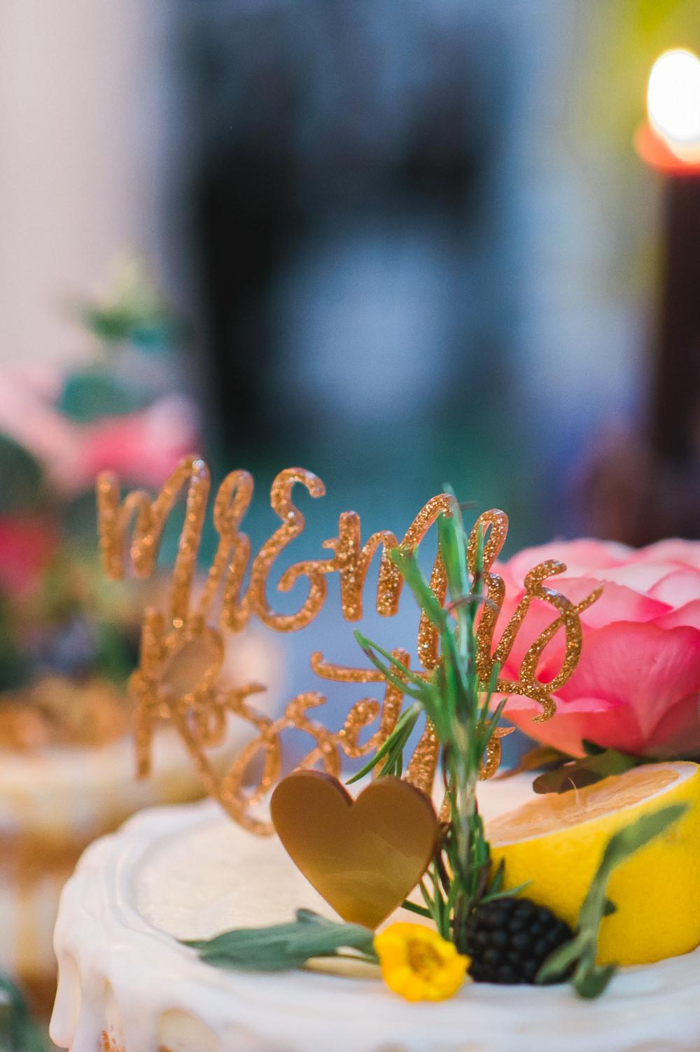 Mr & Mrs Glitter Laser Cut Cake Topper Fruit Space Hull Warehouse Wedding M&G Photographic