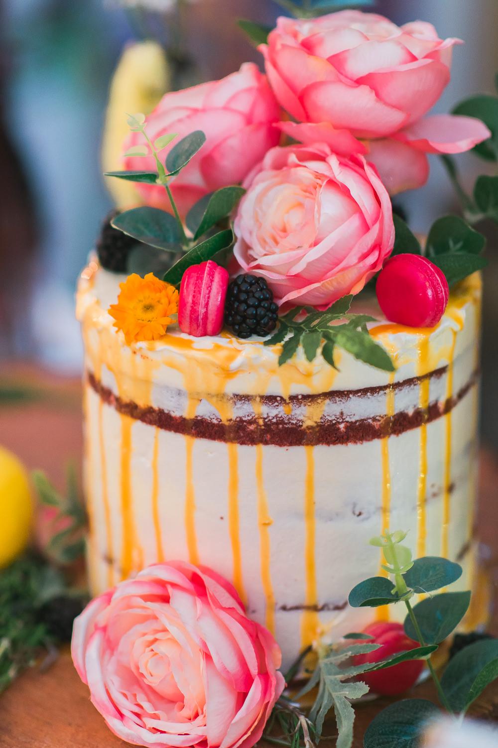 Semi Naked Cake Drip Macarons Berries David Austin Roses Fruit Space Hull Warehouse Wedding M&G Photographic