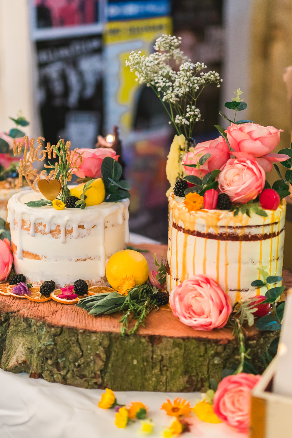 Cakes Wood Slice Semi Naked Drip David Austin Roses Berries Macarons Fruit Space Hull Warehouse Wedding M&G Photographic