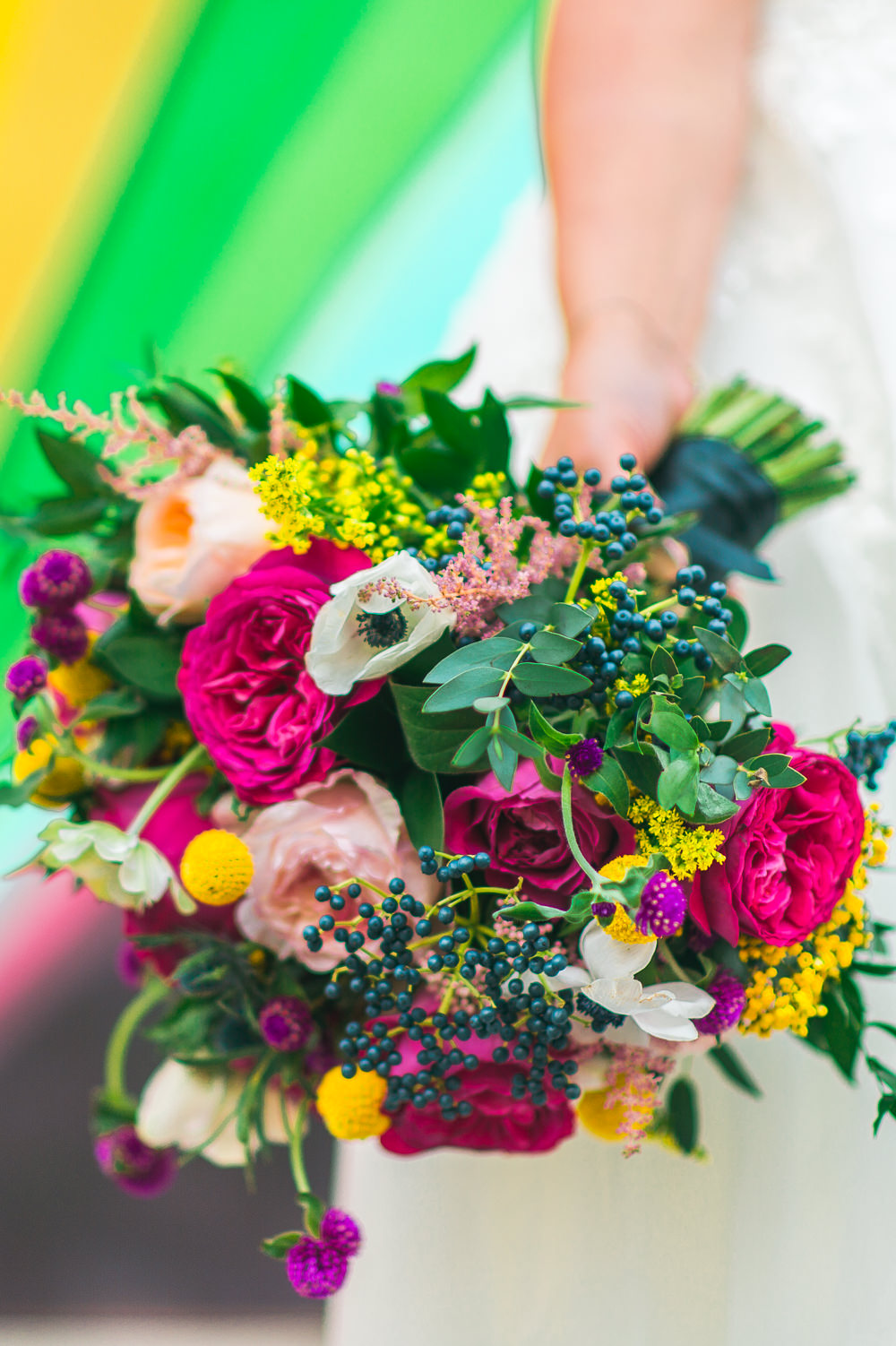 Bride Bridal Bouquet Multicoloured Rose Anemone Foliage Berries Fruit Space Hull Warehouse Wedding M&G Photographic