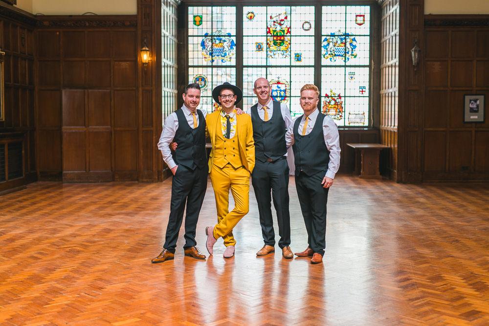 Groom Groomsmen Three Piece Mustard Suit Waistcoat Hat Fruit Space Hull Warehouse Wedding M&G Photographic