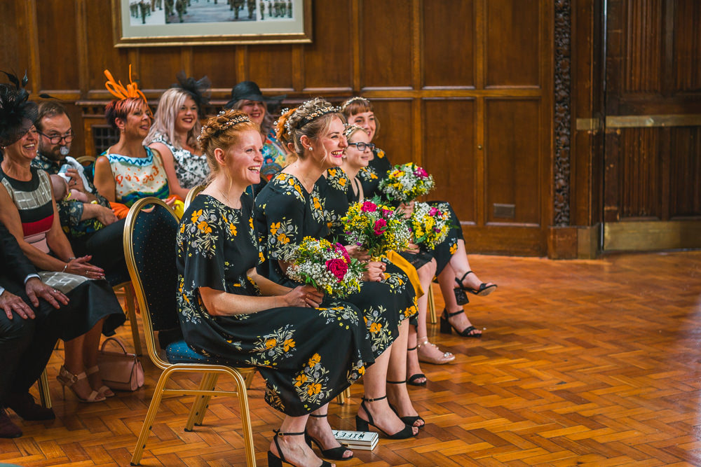 Zara Bridesmaids Black Yellow Floral Ceremony Fruit Space Hull Warehouse Wedding M&G Photographic