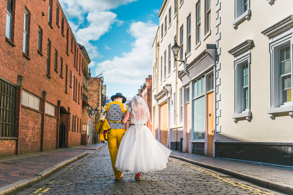 Bride Bridal Ballerina Length Dress Gown Tulle A Line Belt Mustard Three Piece Suit Waistcoat Groom Hat Lemon Shirt Fruit Space Hull Warehouse Wedding M&G Photographic