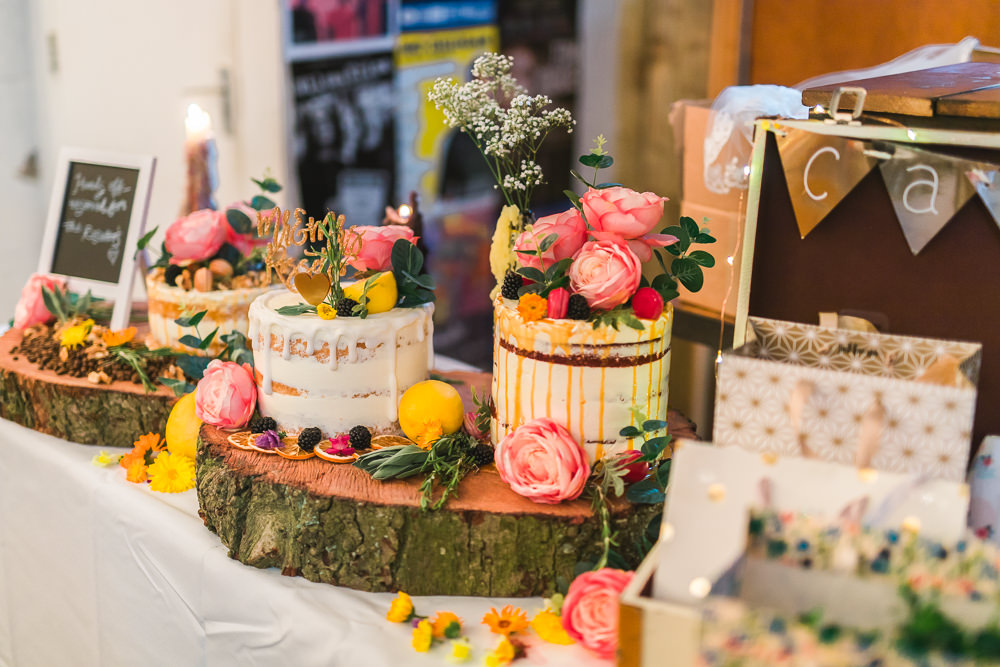 Cakes Semi Naked Drip Wood Slice David Austin Roses Table Fruit Space Hull Warehouse Wedding M&G Photographic