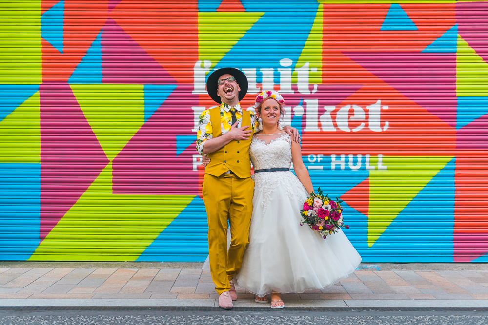 Bride Bridal Ballerina Length Dress Gown Tulle A Line Belt Floral Flower Crown Mustard Three Piece Suit Waistcoat Groom Hat Lemon Shirt Fruit Space Hull Warehouse Wedding M&G Photographic