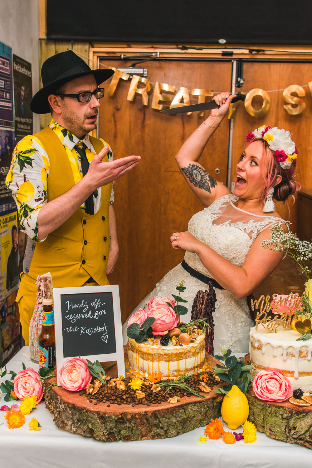 Bride Bridal Ballerina Length Dress Gown Tulle A Line Belt Floral Flower Crown Mustard Three Piece Suit Waistcoat Groom Hat Lemon Shirt Cake Cutting Fruit Space Hull Warehouse Wedding M&G Photographic