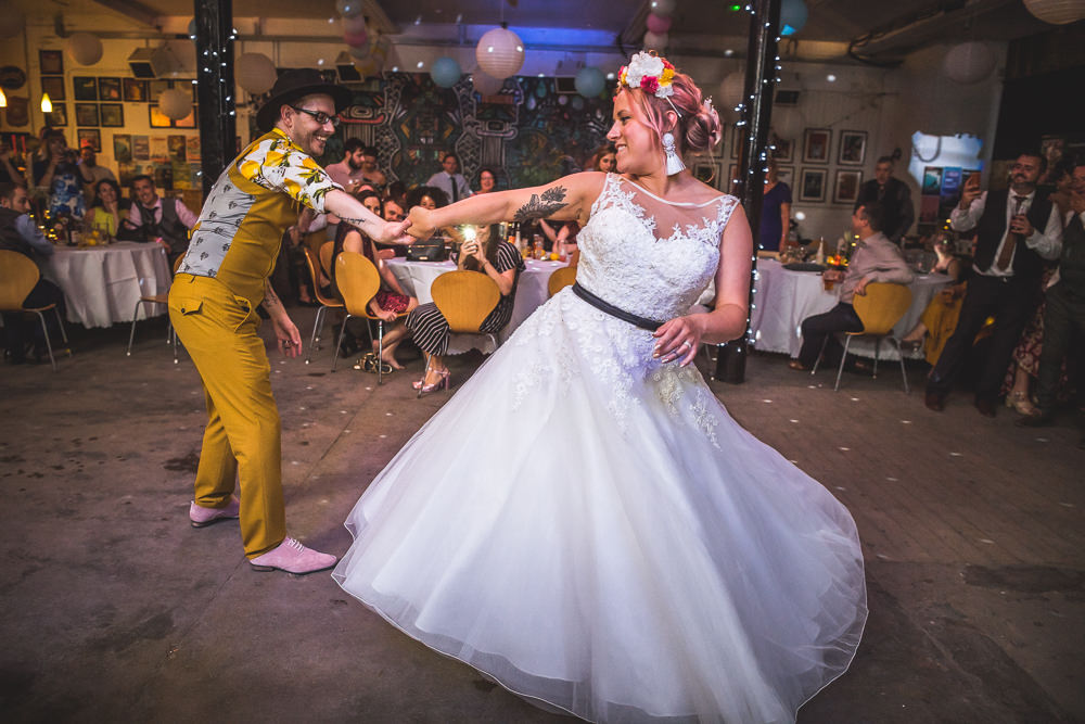 Bride Bridal Ballerina Length Dress Gown Tulle A Line Belt Floral Flower Crown Mustard Three Piece Suit Waistcoat Groom Hat Lemon Shirt First Dance Fruit Space Hull Warehouse Wedding M&G Photographic