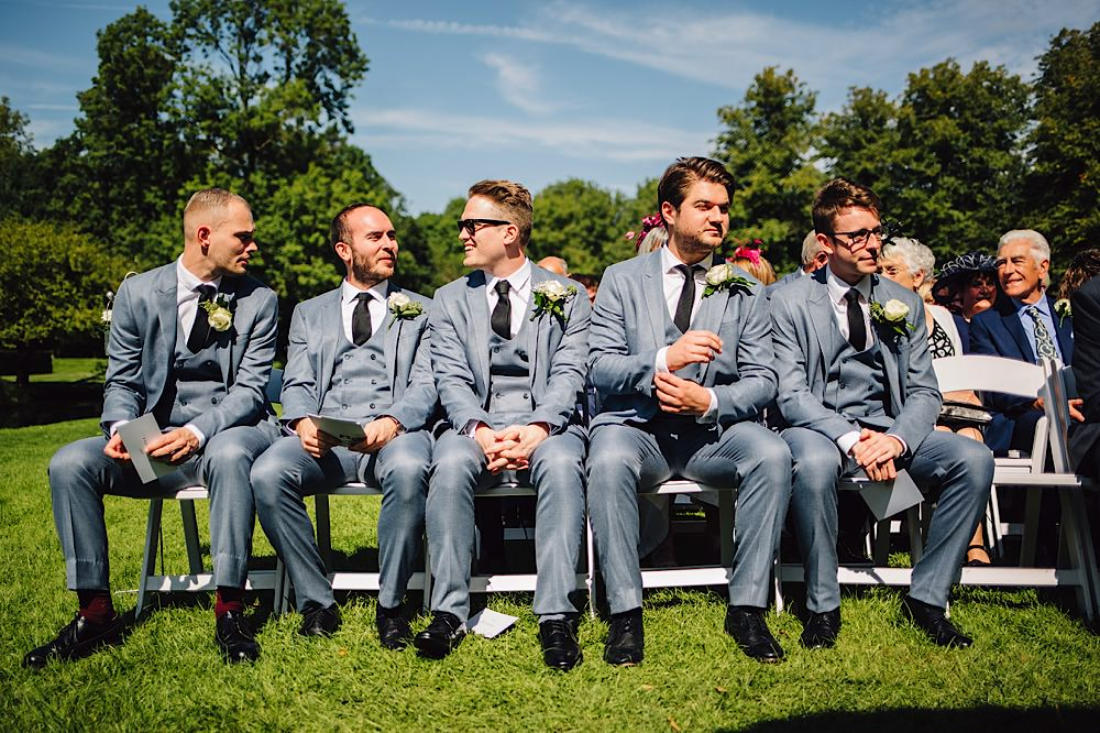Groom Groomsmen Grey Suits Black Ties Shoes Great Fosters Wedding Roo Stain Photography