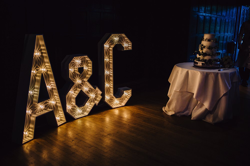 Letter Lights Lighting Great Fosters Wedding Roo Stain Photography