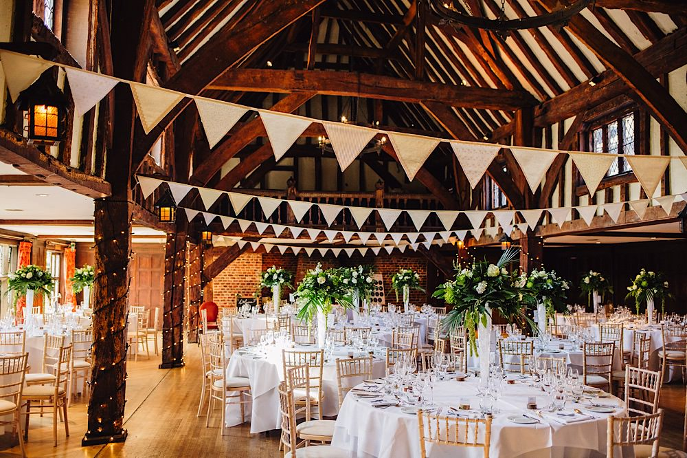 Bunting Hall Beams Greenery Tall Flowers Great Fosters Wedding Roo Stain Photography
