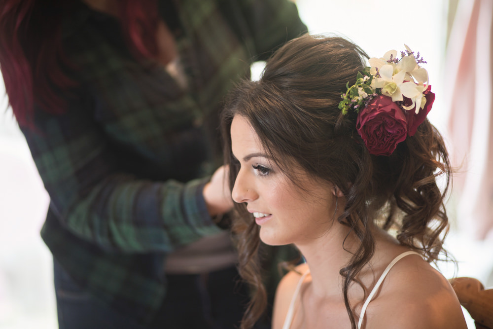 Hair Bride Bridal Style Up Do Flowers House Meadow Wedding Kerry Ann Duffy Photography