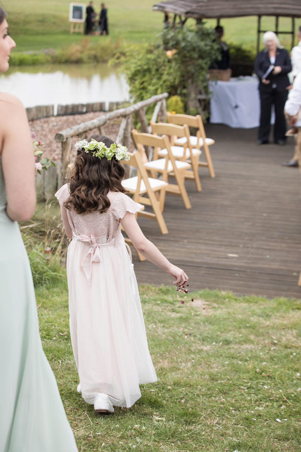 Flower Girl Petal Basket Aisle Ceremony House Meadow Wedding Kerry Ann Duffy Photography