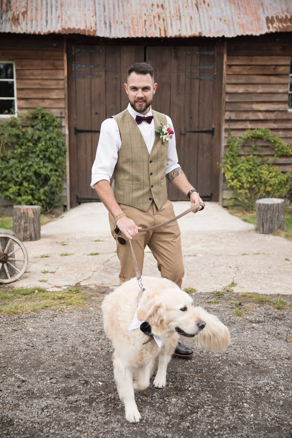 Groom Tweed Waistcoat Red Bow Tie Brown Check Country Suit Dog Pet House Meadow Wedding Kerry Ann Duffy Photography