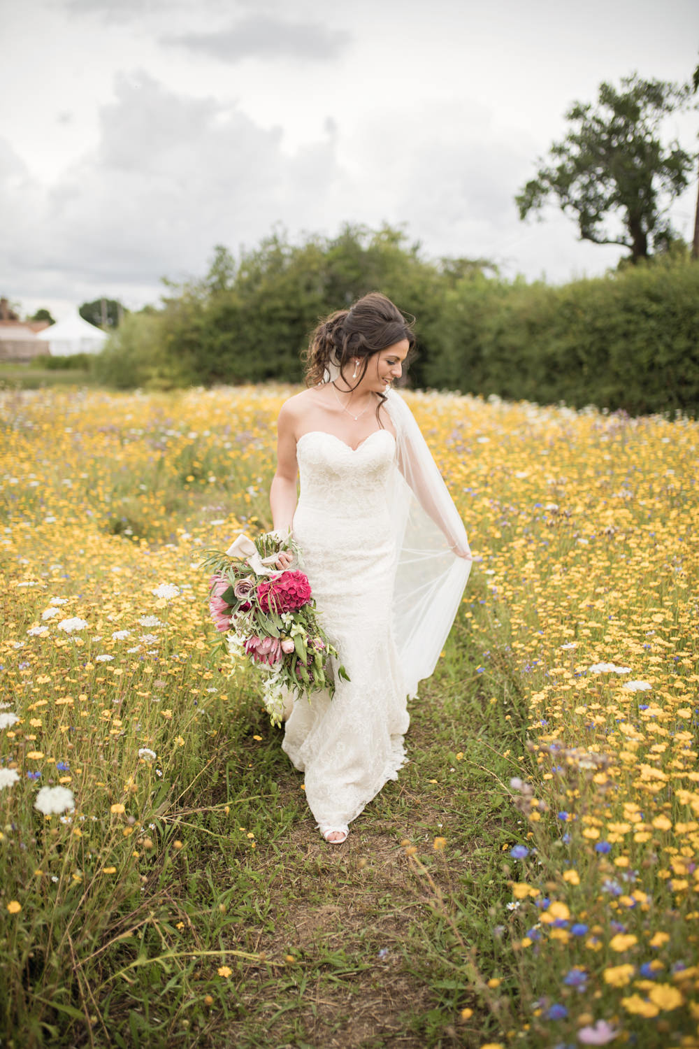 Bride Bridal Lace Dress Gown Strapless Sweetheart Train Veil House Meadow Wedding Kerry Ann Duffy Photography