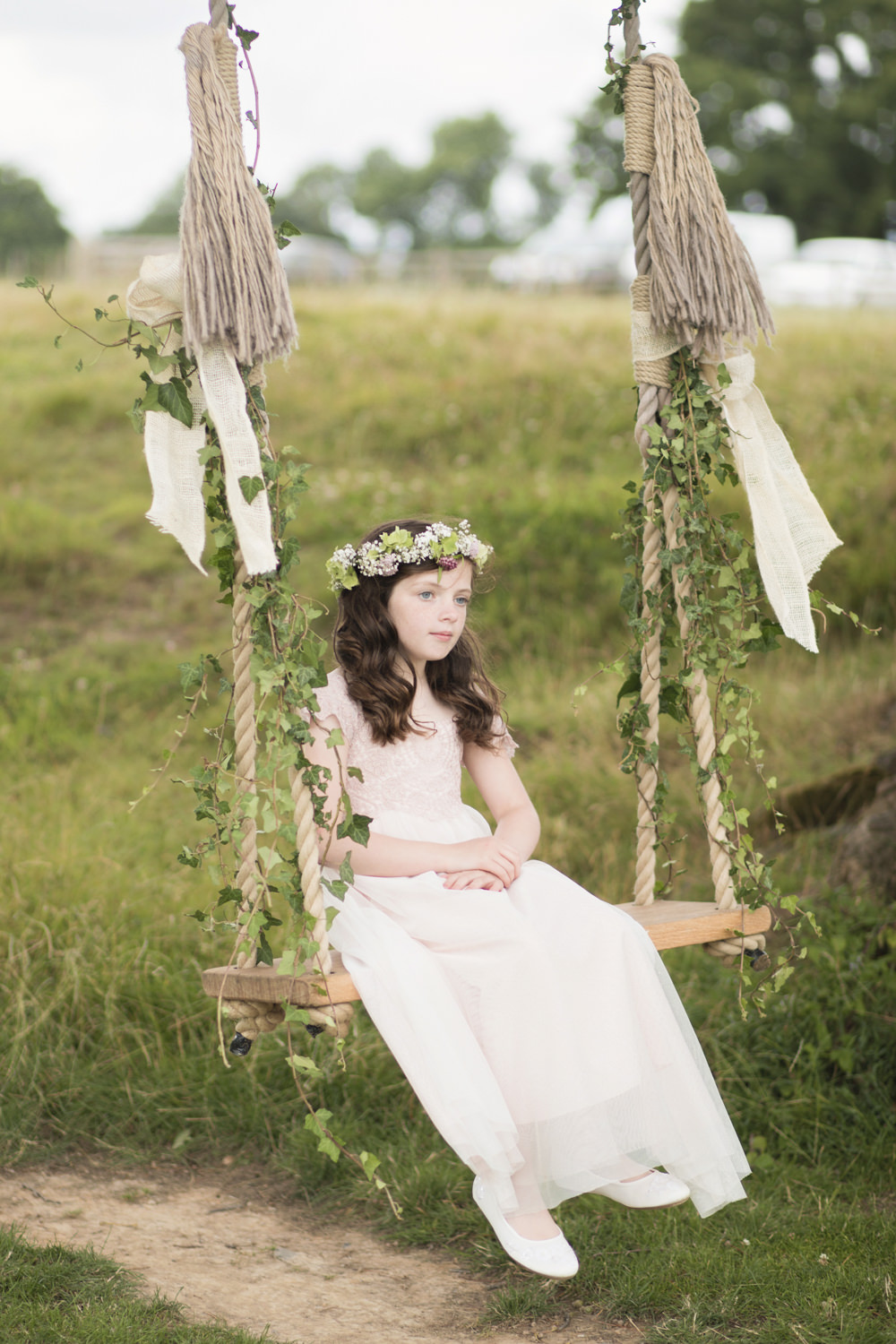 Flower Girl Dress Bridesmaid Crown Swing House Meadow Wedding Kerry Ann Duffy Photography