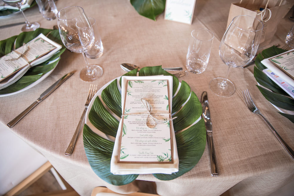 Place Setting Tropical Palm Leaves Stationery Decor House Meadow Wedding Kerry Ann Duffy Photography