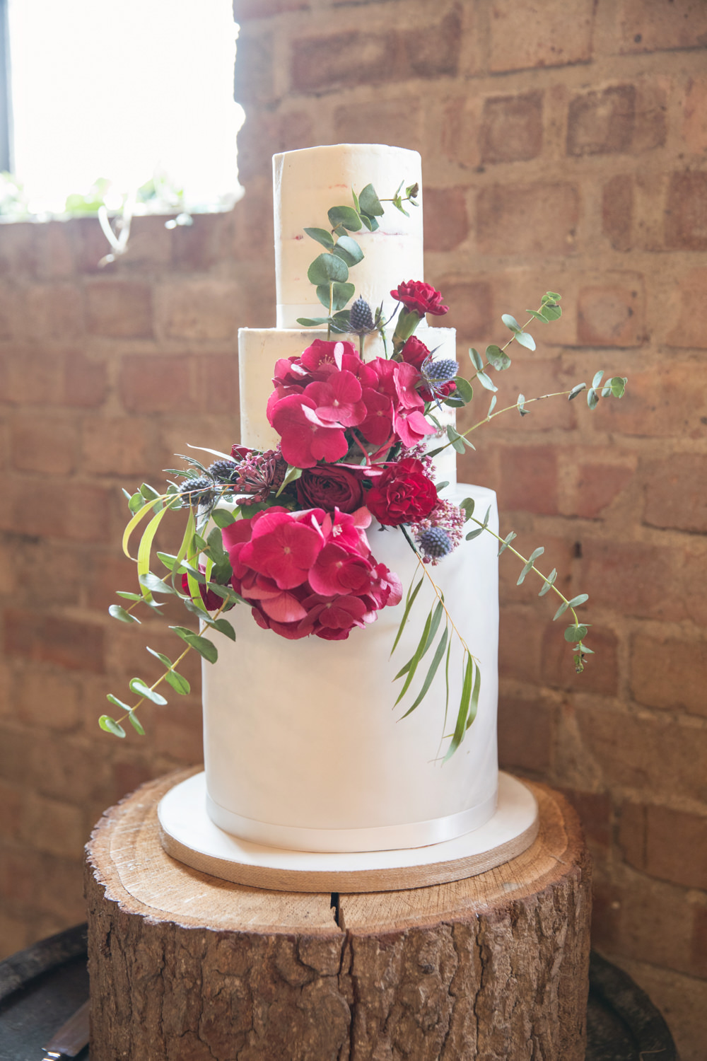 Semi Naked Cake Buttercream Flowers Red Log Stand House Meadow Wedding Kerry Ann Duffy Photography