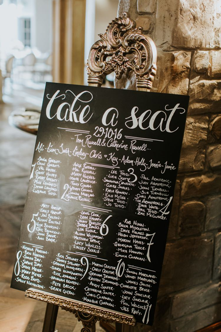 Table Plan Seating Chart Chalk Board Modern Calligraphy Gold Easel Le Petit Chateau Wedding Chris Randle Photography