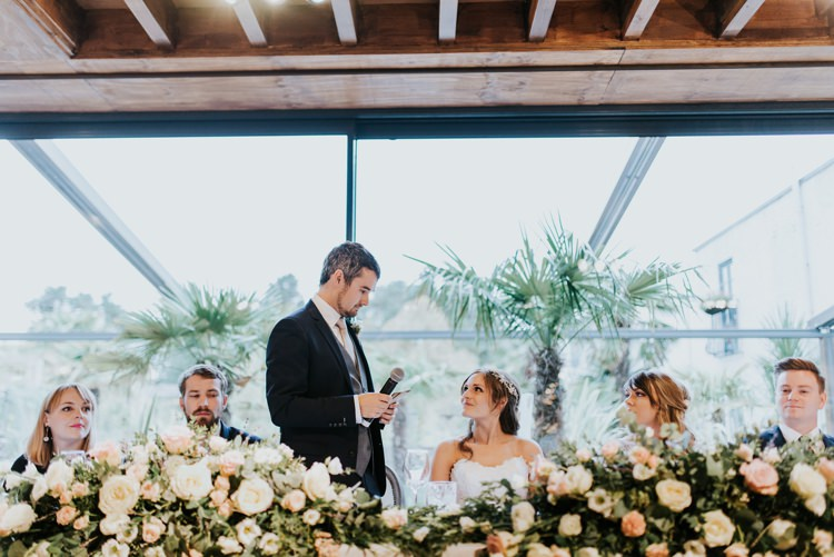 Top Table Floral Flowers Runner Foliage Le Petit Chateau Wedding Chris Randle Photography