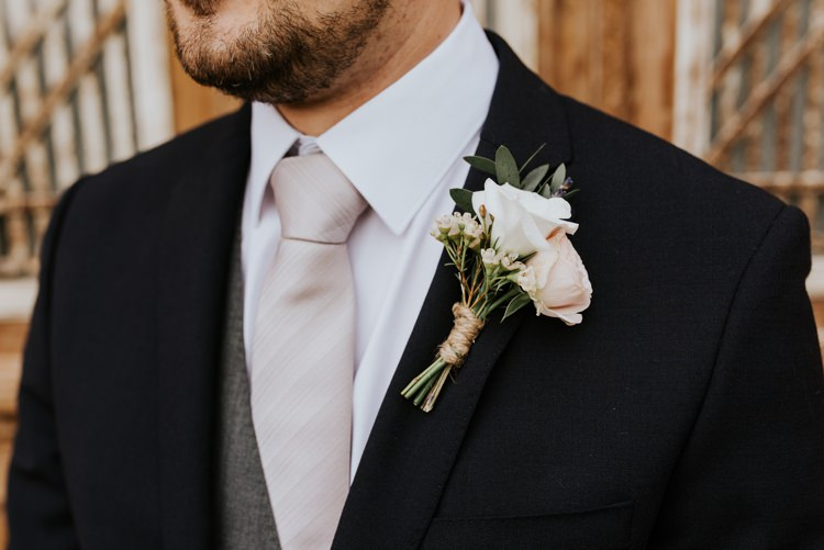 Groom Black Suit Grey Waistcoat Pink Tie Blush Three Piece Le Petit Chateau Wedding Chris Randle Photography