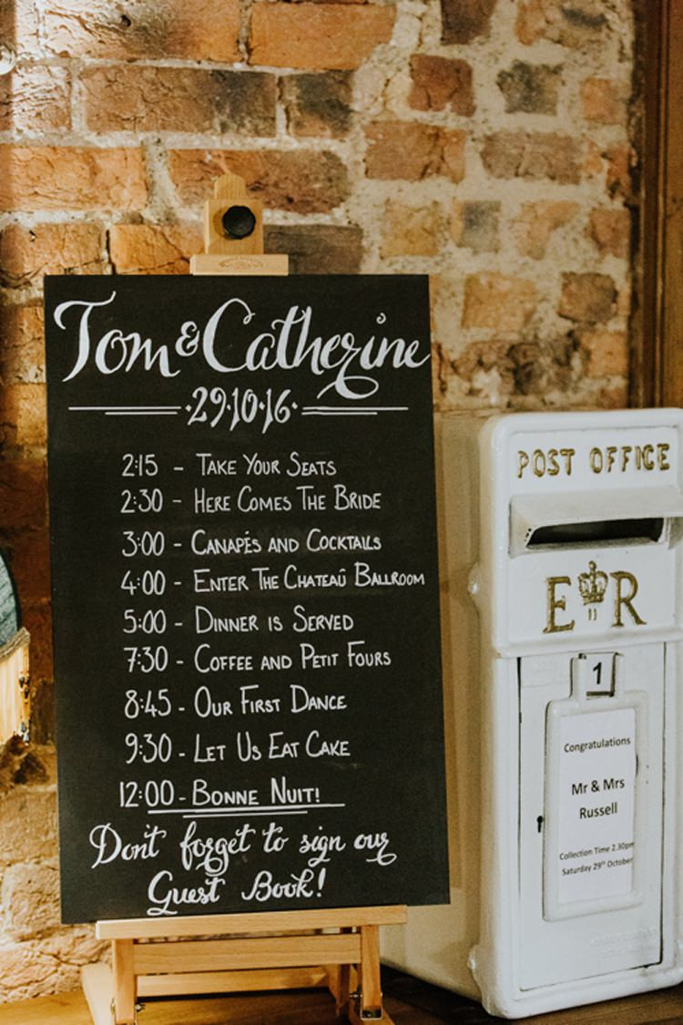 Timeline Chalk Board Modern Calligraphy White Post Box Le Petit Chateau Wedding Chris Randle Photography