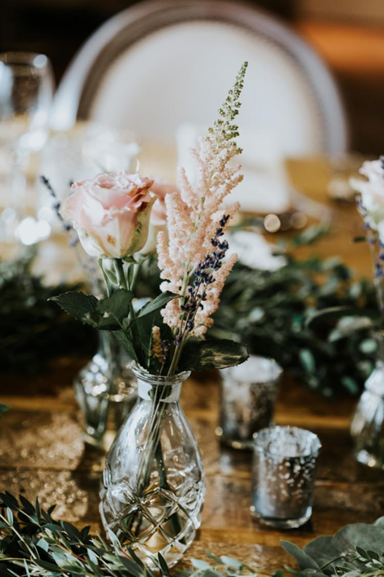 Cut Glass Bud Vase Pink Rose Foliage Runner Le Petit Chateau Wedding Chris Randle Photography