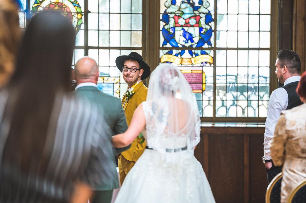 Bride Bridal Veil Lace Blue Belt Dress Gown Groom Hat Mustard Suit Fruit Space Hull Warehouse Wedding M&G Photographic