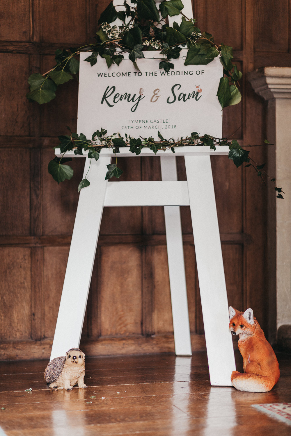 Welcome Sign Modern Calligraphy Easel Foliage Ivy Lympne Castle Wedding Kev Elkins Photography