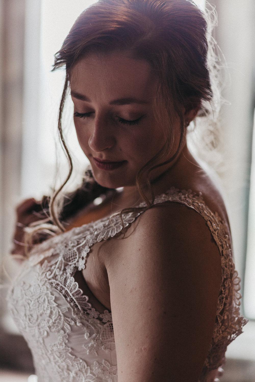 Bride Bridal Lace Strappy Dress Gown Lympne Castle Wedding Kev Elkins Photography