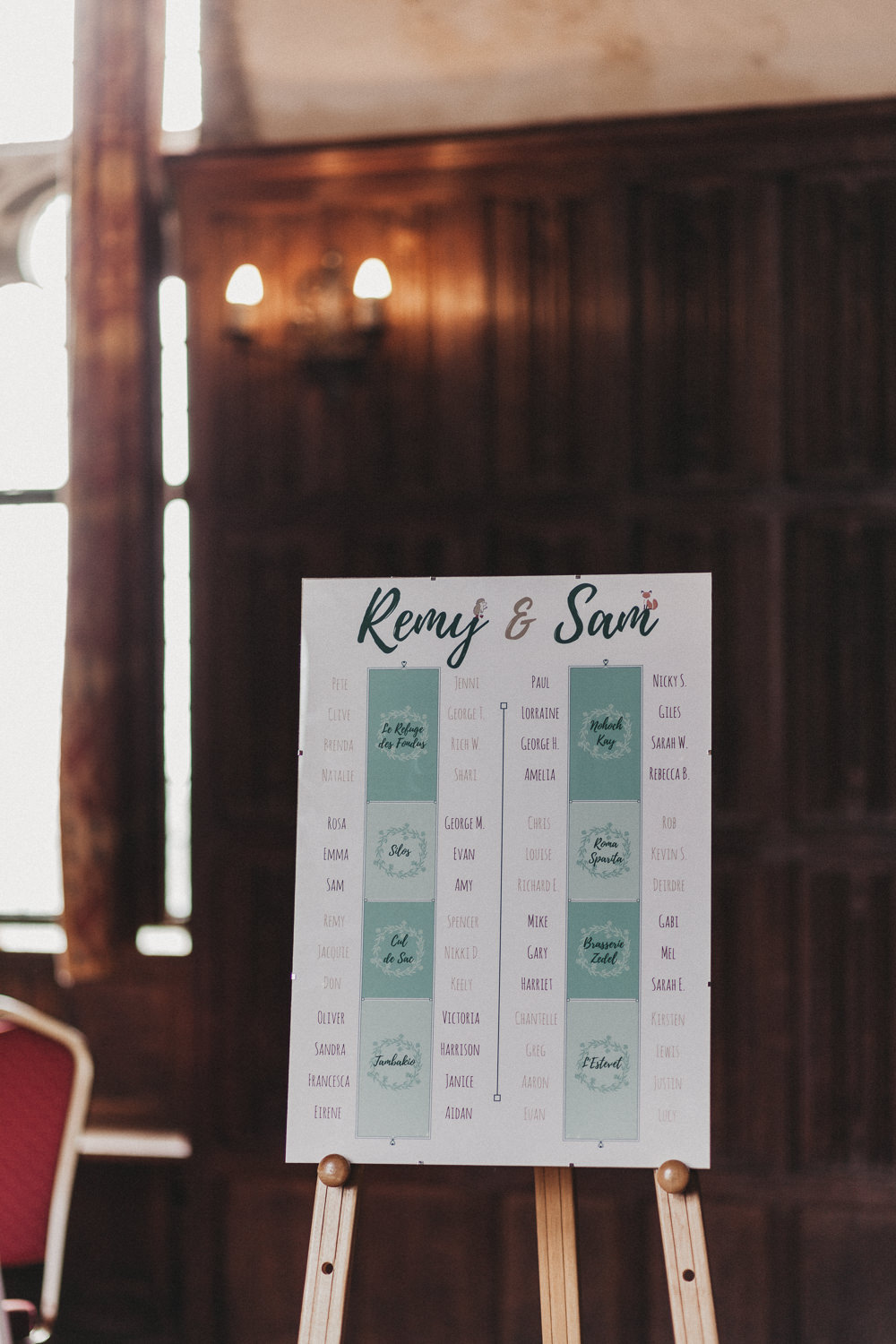 Table Plan Seating Chart Printed Modern Calligraphy Lympne Castle Wedding Kev Elkins Photography