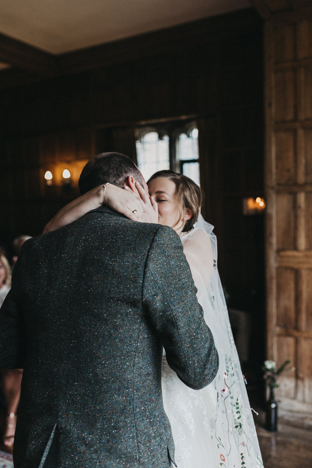 Bride Bridal Lace Strappy Dress Veil Gown Tweed Suit Groom Lympne Castle Wedding Kev Elkins Photography