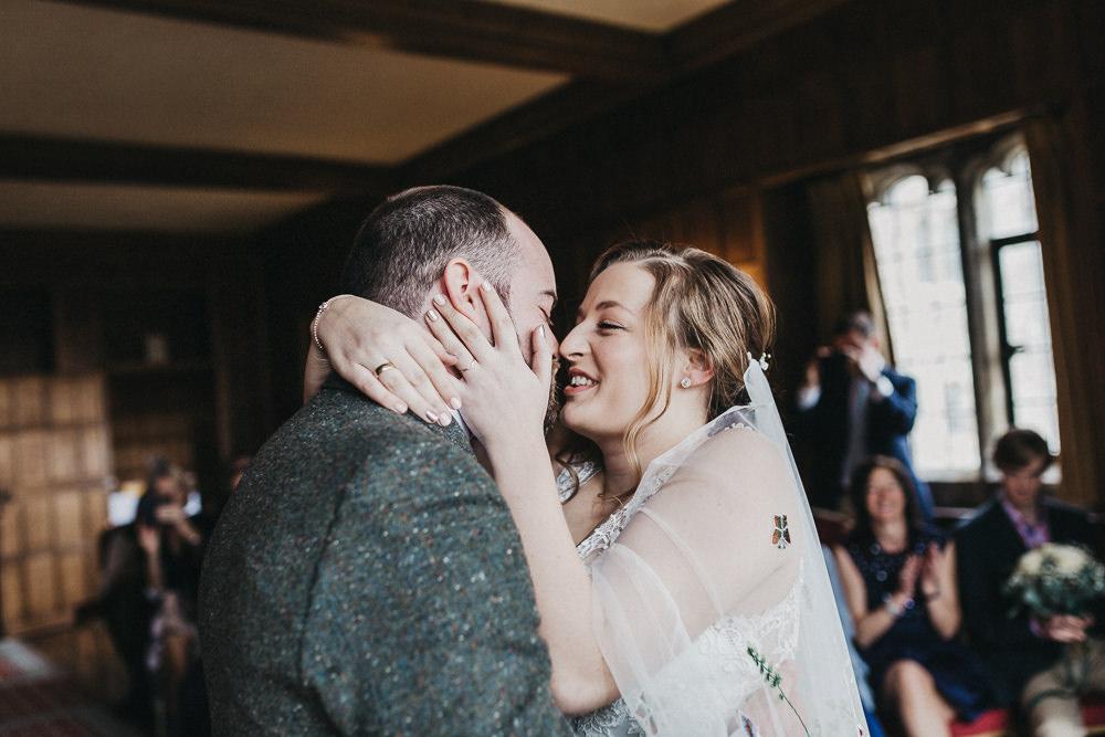Bride Bridal Lace Strappy Dress Floral Veil Gown Tweed Suit Groom Lympne Castle Wedding Kev Elkins Photography