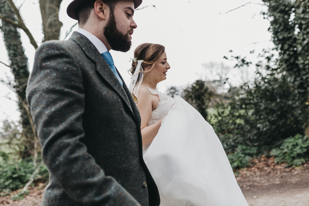 Bride Bridal Lace Strappy Dress Veil Gown Tweed Suit Groom Hat Lympne Castle Wedding Kev Elkins Photography